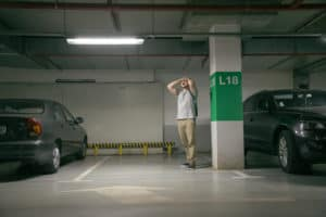 man's car was stolen, can't find car at underground parking