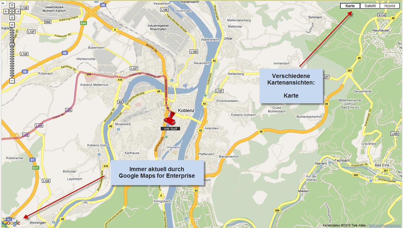 Google Maps GPS Fahrzeugortung